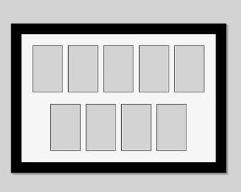 2 Row 5 and 4 Opening Picture Black Frames with Mat Collage to hold 4x6-inch Photographs