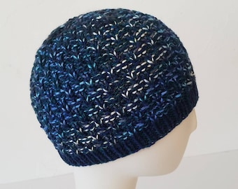 Hand Knit hat in Navy with Blue & Gray Swirl – Adult One Size