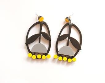 Black grey yellow Plywood floral earrings