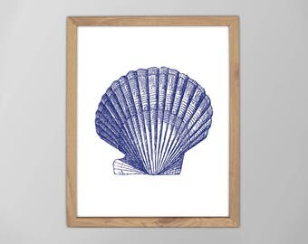 Sea Shell Print, Marine Art, SeaShell Print, Minimalist Art, Seashell Art Print, Nautical Art Prints, Beach Decor, Nautical Art, Marine Art