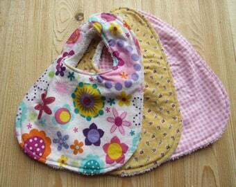 Bibs, Bibs set of 3, Retro Pinks, Pink, Checks, Yellow, Flowers, Girls, Baby, Cotton, Terry Cloth