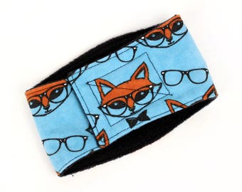 Leak Proof Belly Band for male Dogs Stop Marking Inside Turquoise Foxes with glasses