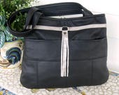 Recycled Leather Handbag Tote - Black and Silver - Upcycled Leather - Created from a Jacket
