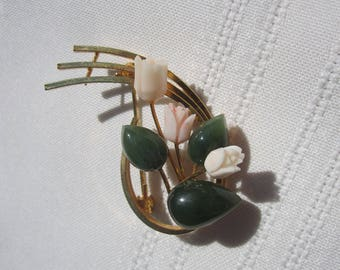 Carved Coral and Jade Roses Goldtone Pin