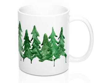 Northern Pines Watercolor Coffee Mug, Winter Coffee Mug, Tree Mug, Watercolor Trees Mug, Coffee Lover Gift, Up North, Woodsy Gift, Art Gift