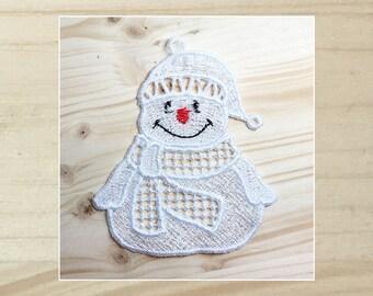 Cuddly Snowmen 1 Machine Embroidered Lace Ornament