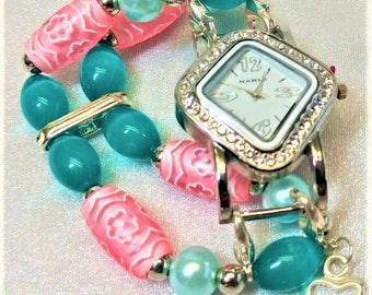 Beaded, Pink, Turquoise Colored Beads, Glass Pearls, Interchangeable Watchband, Gifts for Her