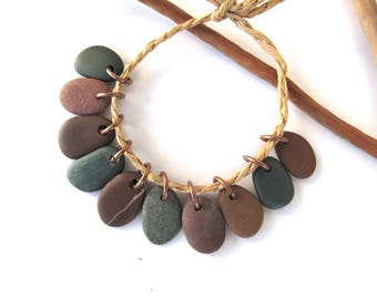Stone Beads Small Rock Jewelry Charms Mediterranean Beach Stone River Stone Natural Stone Pairs EXOTIC CHARMS 14-16 mm