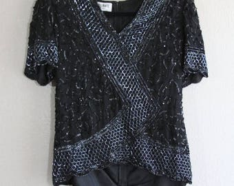 SALE Black and grey sequin & beaded top with v neck front- hexagonal and swirl design- medium ON SALE