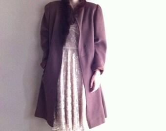 SALE dark brown wool coat with genuine mink fur collar- SALE