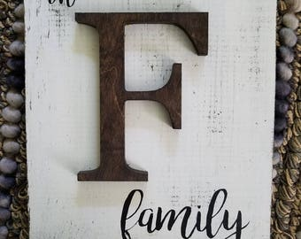 Rustic Farmhouse letter F family sign  Wall hanging READY TO SHIP  F family wedding gift