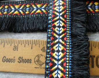 """Boho Black Tribal Ribbon Fringe trim 1 3/8"""" wide loop fringe tribal pattern yellow blue white retro yards yardage crafts costume festival"""