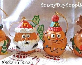 A Merry McNugget Christmas Ornaments, Set A, McNugget Buddies, McDonalds Christmas Ornaments Collection, 1996, Food Toy, Ornament Collection