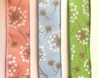 Floral Wired Ribbon, Peach, Blue, Green, Dandelions, Gold metallic, 2 YARDS, 1.5 in. Wide, Spring, Summer Ribbon, Hairbows, Shower, Easter