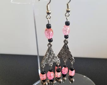 Triangular Chandelier Earrings with Black and Pink Glass Beads and Silver Butterflies