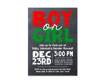 Chalkboard Christmas Gender Reveal Invitation