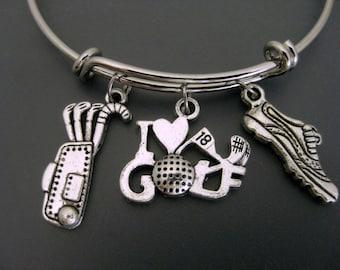 Golf Bracelet /  Golf Bangle / Golf Mom Bracelet / Golf Fan Bangle / Adjustable Bracelet / Charm Bangle / Expandable Bangle / Golf Lover