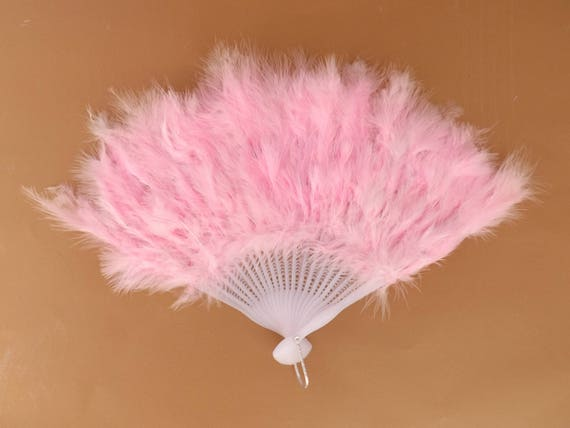 Pink Feather Style Lightweight Plastic Traditional Hand Fan Budget Price Folding Fan from Spain