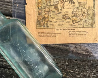 Antique Hood's Sarsa Parilla apothecaries bottle and ad late 1800s