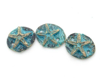 3 Bronze Starfish Connectors with Patina