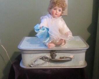 Vintage Doll Suitcase Light Blue / Child Carrying Case