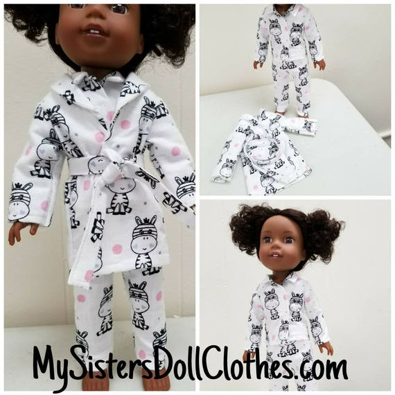 Zebra Flanel Pajamas and Robe for Willie Wisher 14.5 Inch Doll