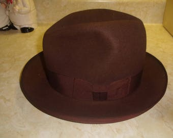 vintage mens hat fedora brown soft borden royal quality custom made new york