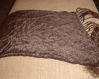 vintage ladies head neck scarf shawl shades brown fringe