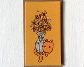 cat flowers mini card, flower card, screen printed card, mini card