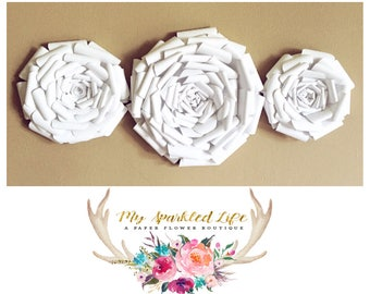 Paper Flowers Trio Wall Decor - Wedding Decor - Home Decor - Nursery Decor - Paper Flower Backdrop - Paper Flowers - Photo Shoot - Backdrop