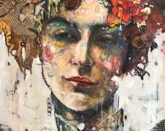 """Limited Edition Mixed Media/Embellished print /Original mixed media Print on canvas/18x24/ with gold and textile """"Greta"""""""