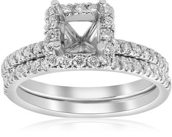 Setting white gold 5/8ct Princess Cut Diamond Halo Engagement Ring Setting Matching Band White Gold (