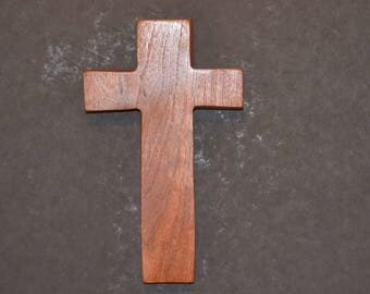 "Wooden Wall Cross; 4.5""x7""x1""; Rustic Cabin Decor;  Wall Cross Decor; Crooked Cross; Mesquite; Handmade;  Free Ground Shipping cc15-2121617"