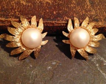 TARA Signed Faux Pearl Clip Earrings