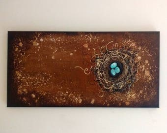 Bird Nest Robins Egg Blue Original Painting