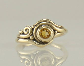 R1120- 14ky Gold Citrine Ring- One of a Kind