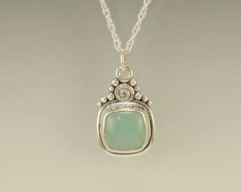 P743-Sterling Silver Blue Chalcedony Pendant- One of a Kind