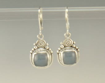 ER621- Sterling Silver Blue Chalcedony Earrings- One of a Kind