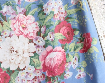 Lush Pink Cabbage Roses Floral Pattern Vintage 30s 40s Blue Fabric Decorative Throw Pillow Cushion