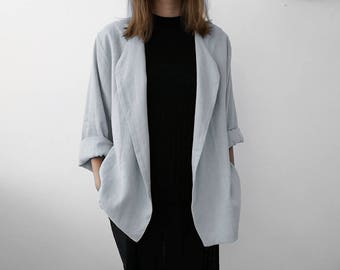 Loose fit linen women's jacket, dove grey linen jacket, grey linen coat, light grey jacket, linen women's clothing by LHI