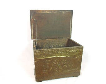 Antique Tinder Box / Wood Lined / Embossed / Hammered / Copper / Brass / English Scenes