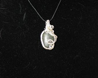 Silver and Green Stone Pendant