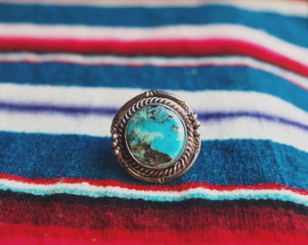 VC-38, Southwestern, Native American vintage turquoise and stearling silver ring