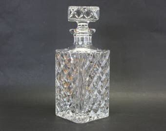 Vintage Rectangular Cut Glass Liquor Decanter with Stopper (E2828)