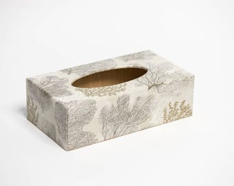 Silver Coral Tissue Box Cover handmade in UK wooden perfect gift