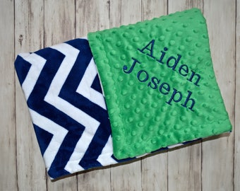 Monogrammed Baby Blanket - Chevron Minky Navy Blue and Kelly Green Personalized Boy, blanket with name Newborn