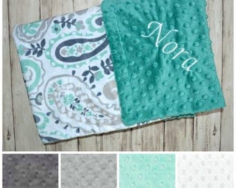 Paisley Minky Baby Blanket - Monogrammed Personalized - Mint Green and Gray - Blanket with name, neutral blanket with name Newborn, teal