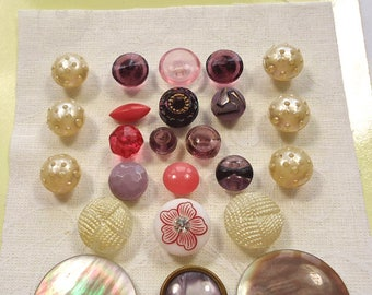 Vintage glass buttons - pink and white - pearl, glass and plastic  (Ref D26)