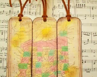 Indiana Map Bookmarks Circa 1827 Old Map Bookmark Set of 3 Gifts for Men Bookmarks for Men Gifts for Guys