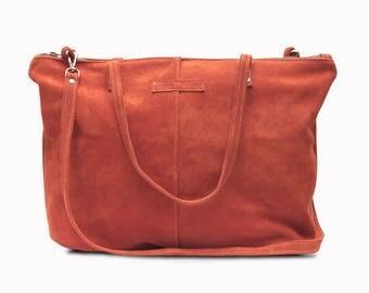 CHARLOTTE suede shopper bag, suede bag, suede shoulder bag, suede crossbody bag, large tote bag.